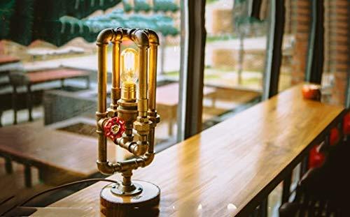 WYL Lámpara de Mesa Moda Americano Retro Estilo Industrial Personalidad Creativo Agua Tubo lámpara Dormitorio Noche lámpara de Noche lámpara de Mesa lámpara de Noche lámpara de Noche (Size : B)