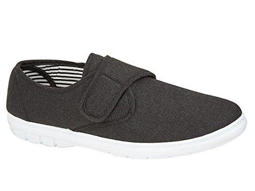 Zapatos de lona para hombre Kevin para zapatos de árbol de zapatos más amplios de ajuste casual de zapatos de lona para entrenador, talla 6-12, color Negro, talla 40 2/3 EU