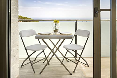 Trendyshop365 Camping-Möbelset Sitz-Garnitur 3-teilig Klapptisch mit 2 Klappstühlen Grau Balkonmöbel