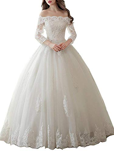 Wedding Dress with Long Sleeves Bridal Gown Ball Gown Lace Wedding Gowns Off The Shoulder Bride Dresses