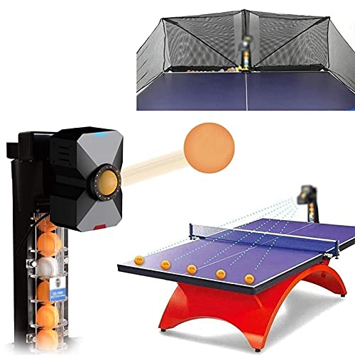 SKYWPOJU Robot treningowy do tenisa stołowego - Automatycznie podaje piłki do ping-ponga o średnicy 40 mm - Automatyczna maszyna do piłek do treningu z piłeczkami do ping-ponga wewnątrz i na zewnątrz