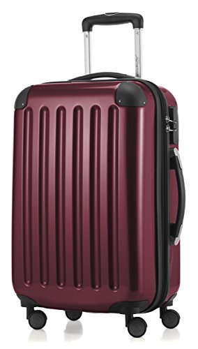 HAUPTSTADTKOFFER - Alex- Carry on luggage On-Board Suitcase Bag Hardside Spinner Trolley 4 Wheel Expandable, 55cm, burgundy