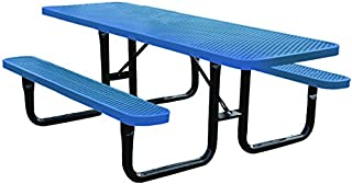 8' Rectangular Thermoplastic-Coated Metal SuperSaver Commercial Picnic Table - ADA 2-Chair Capacity - Portable/Surface-Mount - Blue