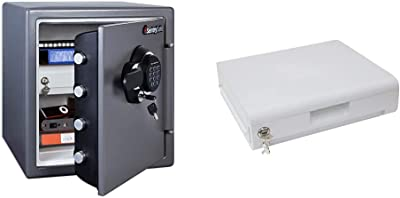 SentrySafe SFW123GDC Fireproof Safe and Waterproof Safe with Digital Keypad 1.23 Cubic Feet, Gun Metal Grey & 913 Locking Drawer Accessory, For SFW082 and SFW123 Fire Safes