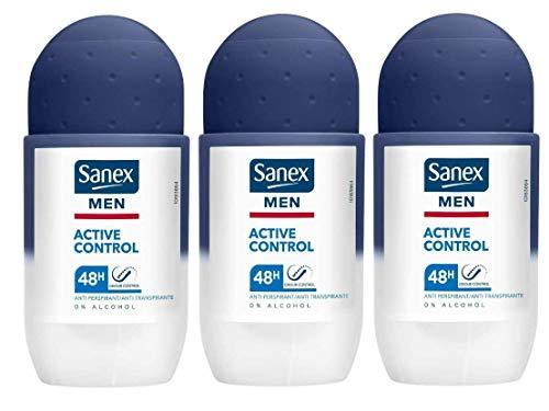 """3 x SANEX Men Deo Roll-On\""""Dermo Active Control\"""" für normale Haut - 50 ml"""