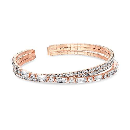 Jon Richard Rose Gold Plated Crystal Cuff Bracelet Pink