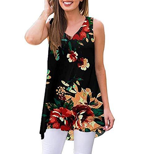 Dames Mouwloos V-hals Vest Tops Zomer Casual Blouse Bloemen Gedrukt Lange Sling Tank Tops