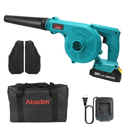 Abeden Cordless Leaf Blower,2-in-1 Electric Handheld Sweeper/Vacuum 20V 2.0 Ah Lithium Battery for Blowing Leaf,Cleaning Dust & Small Trash,Car,Computer Host,Hard to Clean Corner