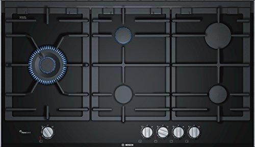 Bosch PRS9A6D70D Serie 8 Gaskochfeld / 90 cm / Schwarz / Glaskeramik / Schwertknebel / 1-Hand-Zündung / FlameSelect / Spülmaschienenfeste Topfträger