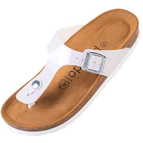 Palado® Damen Zehentrenner Kos | Made in EU | Sandalen in 16 Farben | Pantoletten mit Natur Kork-Fussbett und angenehm weichem Fußbett | Sohle aus feinem Velourleder Weiß Lack 40 EU