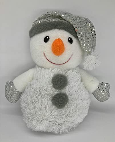 Pupazzo di neve con cappello 26 cm, 4 diversi motivi, bianco con berretto invernale rosso o argento, pupazzo di neve invernale di peluche (argento con cappello di Babbo Natale)