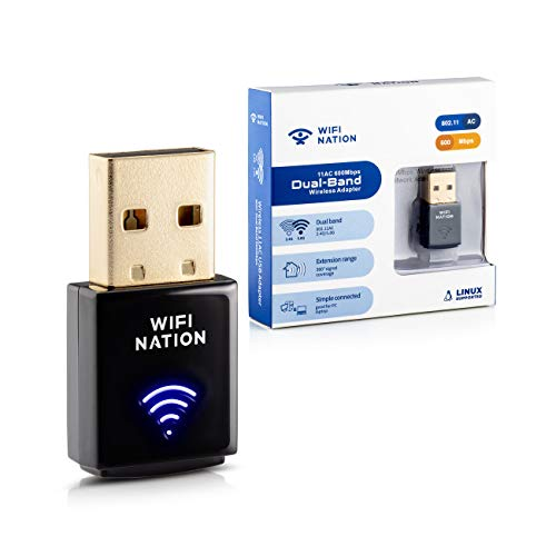 WiFi Nation® WiFi Dongle Mini 802.11ac AC600 USB WiFi Adapter, chipset: Realtek RTL8811AU, Dual Band 2.4GHz or 5GHz, Windows, macOS, Linux and Linux Kali Supported, Product Model: WN-H2
