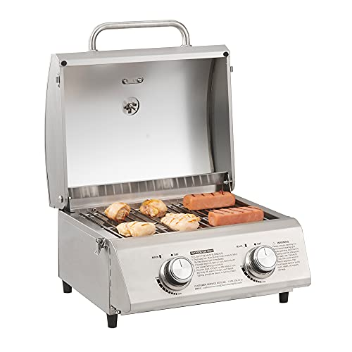 Monument Grills 13742 19inch Tabletop Portable Propane Gas Grill with Travel Locks, Stainless Steel Cooking Grates, and Built in Thermometer