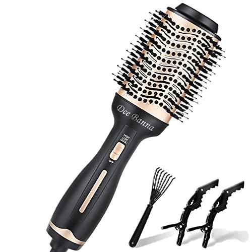 Dee Banna® Brosse Soufflante, mise à niveau 5 en 1 Brosse à air chaud Sèche-cheveux Brosse à air chaud à plusieurs modes Brosse à ions négatifs pour tous les styles (Doré)