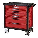 KS Tools 809.0007 - Servante d'atelier 7 tiroirs - Gamme ULTIMATE® - Système de fermeture centralisé par serrure - 4 roues robustes - Plan de travail en Inox - Système anti-basculement - Couleur Rouge