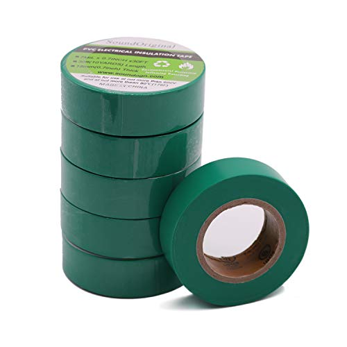 Soundoriginal Electrical Tape Green 6 Pack 3/4-Inch by 30 Feet, Voltage Level 600V Dustproof, Adhesive for General Home Vehicle Auto Car Power Circuit Wiring Green (30Ft Green)