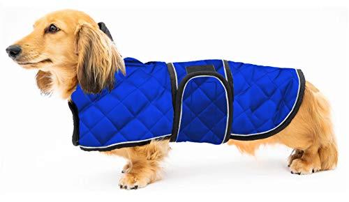 Geyecete Abrigo de perro salchicha térmico cálido, abrigo de invierno para perro con forro polar cálido, ropa de perro al aire libre con bandas ajustables para perros medianos, grandes, azules-L