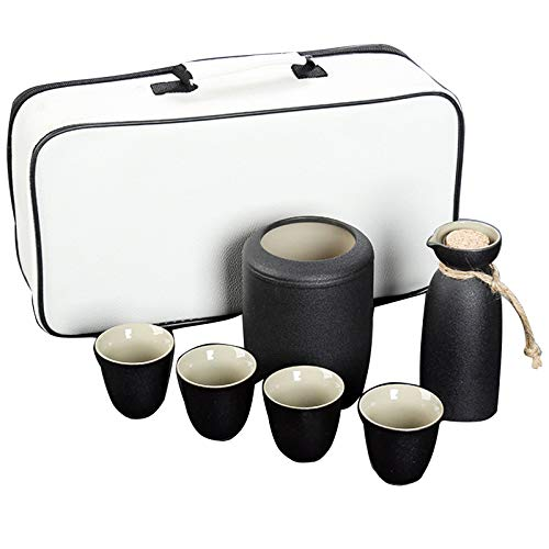 YZCM Japanese Style Wine Set, Wine Warmer and Hot Pot Ceramic, Outdoor Portable Travel Tea Set, Cold/Warm/Shochu/Tea, is The Best Gift for Family and Friends,A