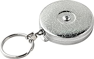 KEY-BAK Original Retractable Key Holder with a Chrome Front, Steel Belt Clip, Split Ring and Made in the USA