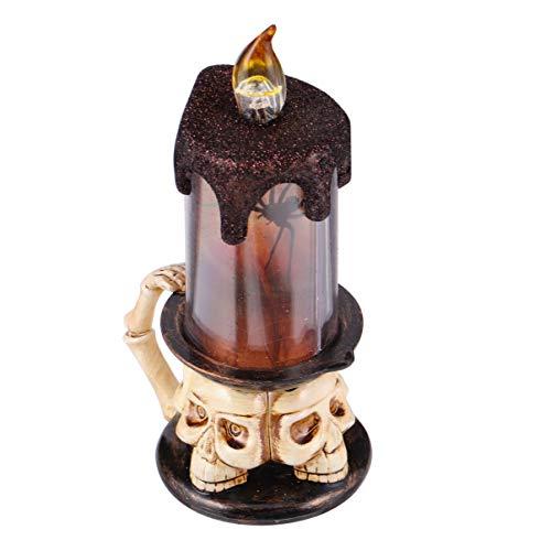 PRETYZOOM Halloween Kerzenlichter Flammenlose Kerzen Gruselige Kerze mit Knopfbatterie für Halloween Feierpartys Geister 1 Stück