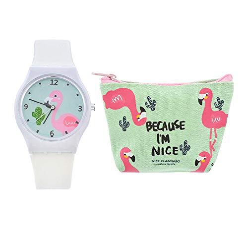 Luzoeo Montre pour Enfant Fille Motif Flamingo Flamant Rose Bracelet en Silicone Montre Analogique pour Enfant Fille Motif Cartoon Montre et Portefeuille Ensemble