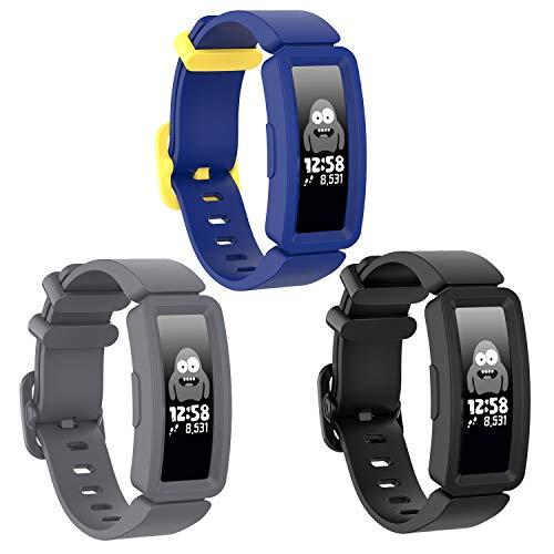 SPOBIT kompatibel mit Fitbit Ace 2 Bänder für Kinder 6 +, Weiche Silikon Zubehör Sportarmband Smartwatch Band kompatibel für Fitbit Inspire HR/Fitbit Inspire/Fitbit Ace 2 Jungen und Mädchen