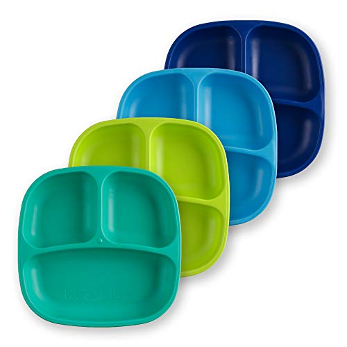 Re-Play Made in USA 4pk Divided Plates in Navy Blue, Sky Blue, Lime Green and Aqua | Made from Eco Friendly Heavyweight Recycled Milk Jugs and Polypropylene - Virtually Indestructible (Under The Sea+)