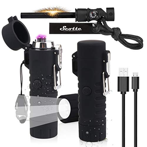 Scotte Plasma Windproof arc Lighter Electric Lighter and LED Flashlight - 2 in 1 (Black)/5-in-1 Magnesium Fire Starter for Emergency Survival Kits, Camping, Hiking, All-Weather Magnesium Ferro Rod