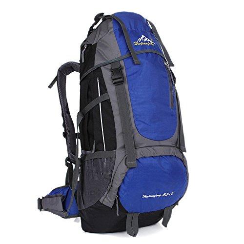 Minetom 55L Backpack Bag Impermeabile Trekking Escursionismo Montagna Alpinismo Zaino Ciclismo Campeggio Viaggio Pack Blu One Size(34*18*66 Cm)