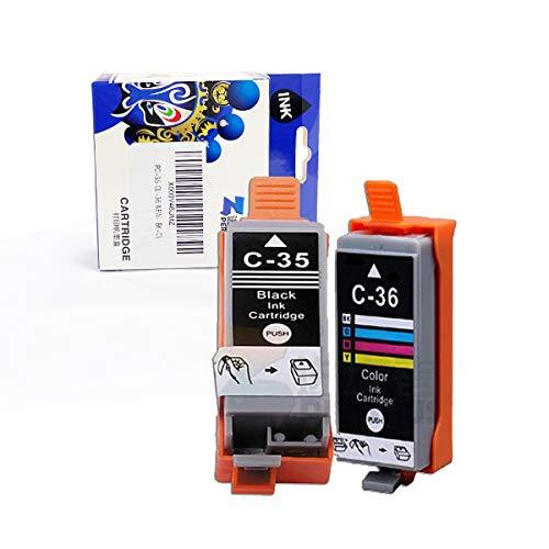 PERSEUS PGI35 CLI36 Sostituzione per Canon PGI-35 CLI-36 Cartucce d'Inchiostro (Nero e Colour) Compatibile con Canon PIXMA IP100B, IP100, IP110 stampante, 2 pacchi