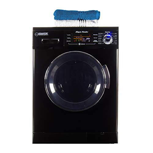 Equator All-in-one Compact Combo Washer Dryer 1200 RPM spin, Auto water level, Sensor Dry Optional Venting/Condensing in Black