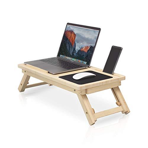 Mesa portátil ecológica para cama ✮ comodidad y confort ✮ Mesa plegable para cama, mesa de desayuno, soporte para ordenador portátil, convertidor de escritorio de pie, MacBook & PC 11, 13, 15