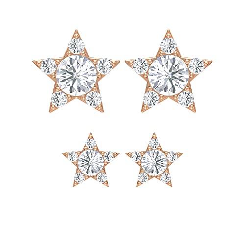 Pendientes de piercing de cartílago de 14 quilates, Dainty SGL certificado diamante tragus Stud, 14K Oro rosa, Par