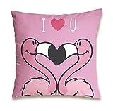 "NICI 41944 Flamingo Baumwollkissen ""I Love You"", 37 x 37 cm"