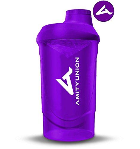 Frauen Protein Shaker 800 ml Lila Deluxe - ORIGINAL AMITYUNION - Eiweiß Shaker auslaufsicher - BPA frei mit Sieb, Skala für Cremige Whey Shakes, Gym Fitness Becher für Isolate, BCAA Pulver und Booster