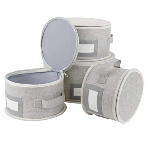 China Dinnerware Storage Containers Hard Shell Extra Large and Sturdy Sides and Bottom 4 Piece Storage Set with Handles Stackable