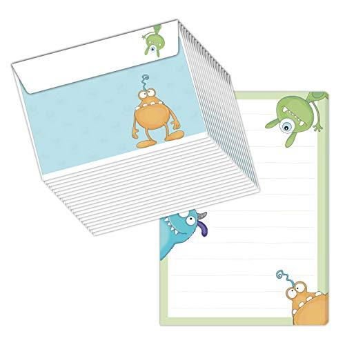 'Bloc-notes/lettre Block 'Monster DIN A5(Bloc Ligné 50feuilles) avec 20enveloppes/pour lettres, Papier à lettre