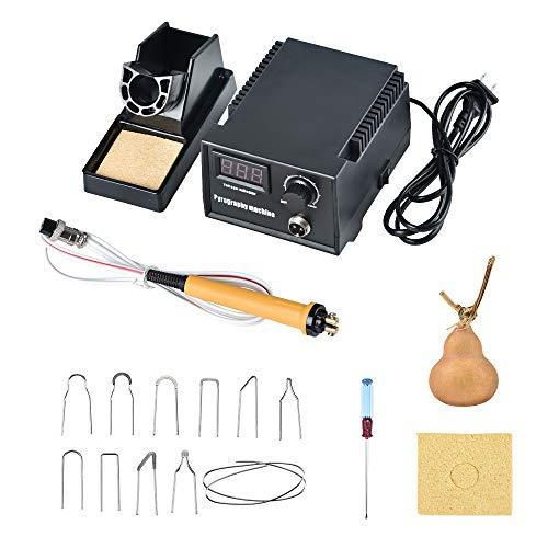 SEAAN Macchina per pirografia 60W Strumento professionale per bruciare il legno Controllo della temperatura regolabile digitale Artigianato in legno Kit pirografico(1 penna con punte da 10 pezzi)