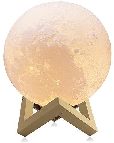 Lámparas luna 3D, Sebami Luz Nocturna Luna LED Lampara Luna control táctil Brillo con puerto de carga USB Luz de Noche Ambiente Lámparas para Niños Bebé Regalo de Fiesta Decoración (8 cm)