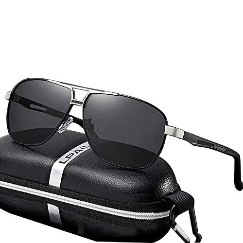 BEIAKE Adultos Gafas De Sol Gafas Polarizadas Anti-UV Gafas De Decoloración Fotosensibles Adecuadas para Ciclismo, Viajes, Playa, Gafas De Conducción,Plata