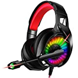 Nivava Gaming Headset for PS4, Xbox One, PC Headphones with Microphone LED Light Mic for Nintendo Switch Playstation Computer, K7 (Black&Red)