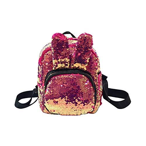 TUDUZ Damentasche Rucksack Studententasche Reisetasche Große Kapazität Briefdruck Tasche Clutches(Rosa)