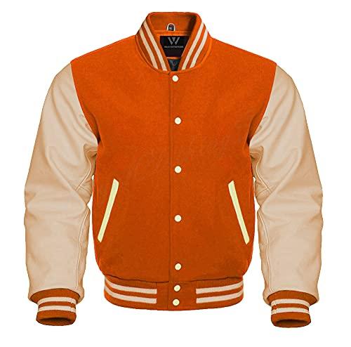 Letterman Baseball Bomber School College Varsity Jacket Orange Wool With Cream Leather Sleeves (Orange Cream, Small)