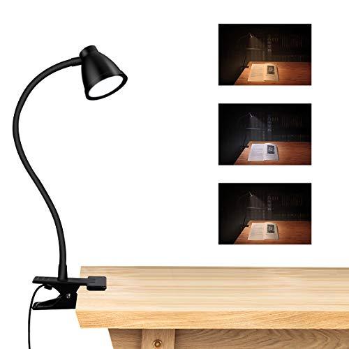 LED Clamp Clip Leuchttisch,CestMall LED Schreibtischlampe mit Klemme Dimmbarer Clip für Leselampe Einstellbare Farbtemperatur, Mini-USB-Tischlampe Einstellbare 360-Grad-Clip-Leselampe zum Lesen