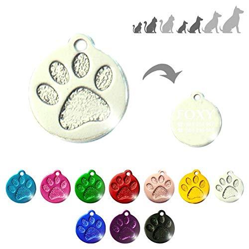 Placa Redonda con Huella para Mascotas pequeñas-Medianas Chapa Medalla de identificación Personalizada para Collar Perro Gato Mascota grabada (Plateado)