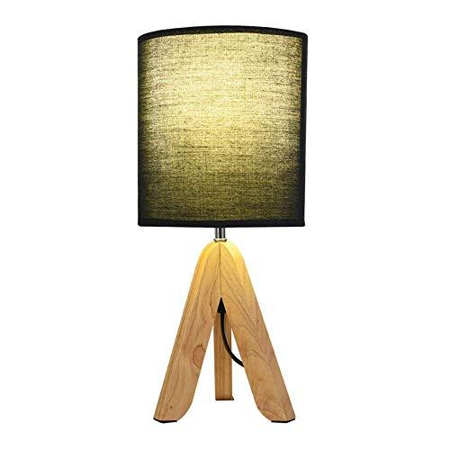 Scandinavische tafellamp van hout, eenvoudige decoratie van hout op statief, led-bureaulamp met bedlampje (design: knop).