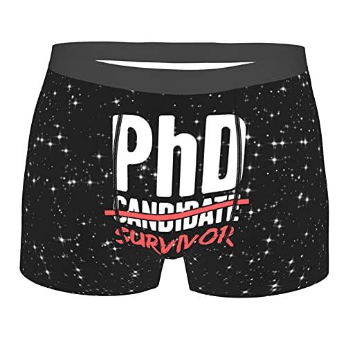 PhD Candidate Survivor Mens Underwear Sexy Boxer Shorts Loose Fit Boxer Briefs Grandes Troncos, Negro, XXL