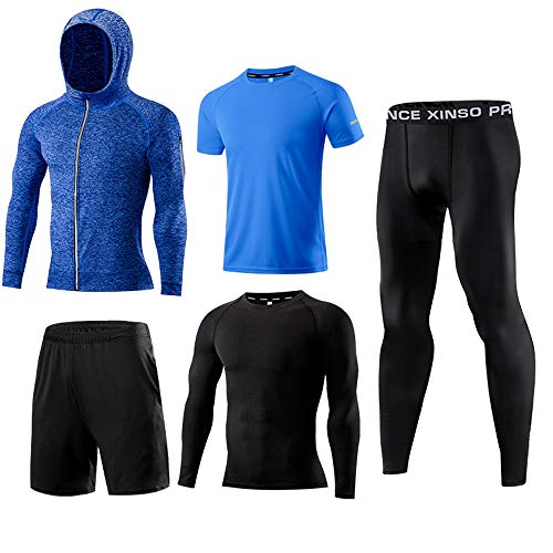5PCS/Set Men's Workout Athletic Compression Fitness Pants Legging Long Short Sleeve Shirt T-Shirt Quick Dry Compression Baselayer Basketball Short Running Sportwear Set (Blue, L)