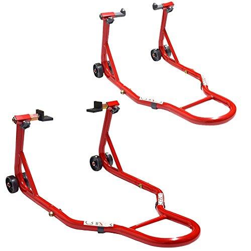 Cruizer - Cavalletti per moto anteriore con attacchi a coni + posteriore a piastre, regolabili e con ruote sottostanti