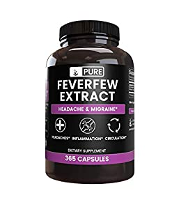 PURE FEVERFEW EXTRACT Helps Relieve Migraines and Headaches, Reduces Inflammation & Improves Circulation.* BEST VALUE: 6 MONTH SUPPLY More Than Other Top Sellers. (Seriously, check out their labels.) 100% PURE, NO ADDITIVES, RICE OR STEARATE FILLERS....